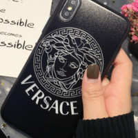 Versace personality hollow embossed iphone8Plus mobile phone case fully covered with 6s/7 lover iphoneX