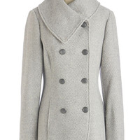 ModCloth Military Long Long Sleeve Double Breasted Quiz Upon a Star Coat in Stone