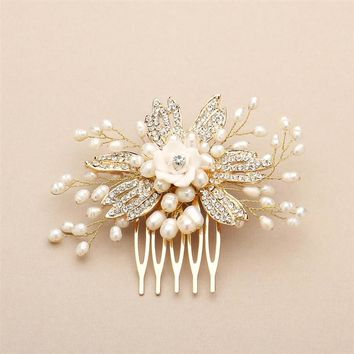 Gold Freshwater Pearl Wedding Comb with Pave Crystals and Delicate Flower