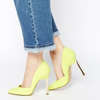 New Look Vic Lime Asymmetric Heeled Court Shoes