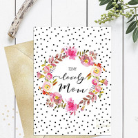 Mothers day printable card from daughter, Pretty mothers day card 5x7, Pink flowers floral wreath dots, To my lovely mom, Instant download