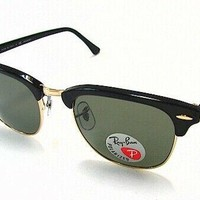 Ray Ban Clubmaster RB3016 RB/3016 901/58 Black Polarized RayBan Sunglasses 49mm