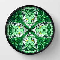 Emerald Leopard Wall Clock by chobopop