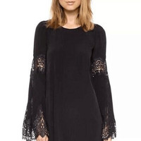 Black Round Neckline Flared Sleeves Chiffon Mini Dress with Lace Details