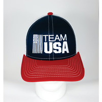 Team USA Cap. Team USA Hat. Embroidered. Velcro Back. Trucker Mesh Back. One Size Fits Most. Rio Olympics. Rio de Janeiro 2016 Olympics.
