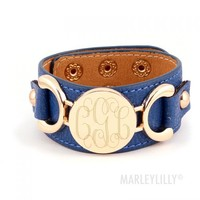 Monogrammed Leather Cuff Bracelet   Marley Lilly