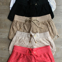 """Beach Babe"" Linen Lace Shorts"