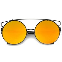 Modern Oversize Round Flat Lens Wire Frame Sunglasses A542