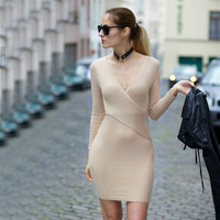 2016 Autumn Winter Women Knitting Dress Sexy Party Dresses Full Sleeve Short Pencil Bodycon Halter Knitted Fall Dress Plus Size
