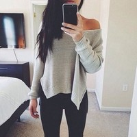 Autumn Women Long Sleeve Knitted Pullover Casual Loose Long Tops