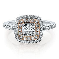 AMAZING 1.12CT WHITE PRINCESS 925 STERLING SILVER ENGAGEMENT AND WEDDING RING