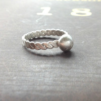 Stackable  sterling silver ring, Unisex ring, personalize with hand stamped initial,  recycled sterling, bohemian, wedding band