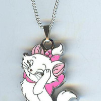 Pretty MARIE CAT (Aristocats) Pink Bow and Ribbon Pendant & Necklace