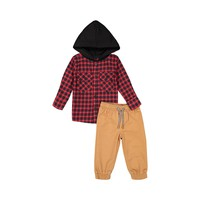 Red Flannel Hoodie & Jogger Set