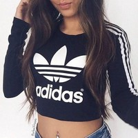 "Tagre ""Adidas"" Fashion Short Shirt Crop Long Sleeve Top Tee"