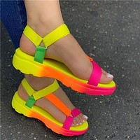 Sandals Womens Shoes Soft Multi Colors Sandals Beach Ankle Wedge Platform Shoes Ladies Girls Sandals For Women