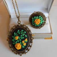 Vintage Style Jewelry Set, Adjustable Ring, Necklace and Ring Set, Yellow Roses Jewelry Set, Handmade Jewelry, Fabric Jewelry, Gift for Her