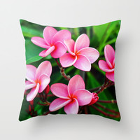 Rose Pink Plumerias - Throw Pillow Cover, Beach Style Surf Accent, Bohemian Chic Floral Furnishing Square. In 14x14 16x16 18x18 20x20 26x26