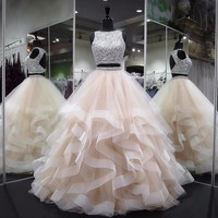 Long Prom Dresses 2018 New Elegant Heavy Beaded Crystals Backless Puffy Champagne African Two Piece Prom Dress
