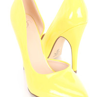 Yellow Single Sole D-Orsay Pump Heels