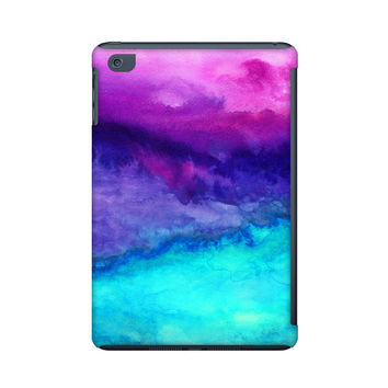 Ipad mini case, watercolor ipad mini case, ombre ipad mini case in pink, aqua and purple, art for your tablet