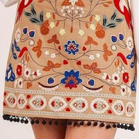 Vega Embroidered Mini Skirt