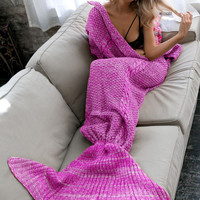 Knitted Mermaid Tail Blanket - Winter Spring Keep Warm - Home Sofa Bedding - Baby Children Adult +Christmas Gift Necklace