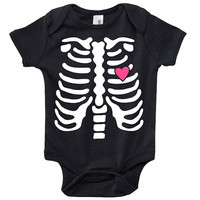 Skeleton Rib Cage Baby Clothes Infant Bodysuit Jumper Shower Gift cute Fun Cool Mom Christmas Halloween Costume Funny Hipster Pregnant Cute