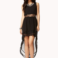 Lace-Trimmed High-Low Dress