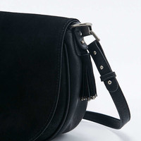 Black Suede Metal Trim Cross-Body Saddle Bag - Urban Outfitters