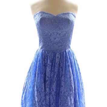 Strapless Lace Dress with Full Skirt Bridesmaid Dresses AM483