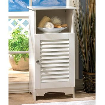 White Slatted Cabinet with Shelf
