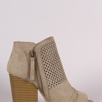 Qupid Suede Perforated Chunky Heeled Booties