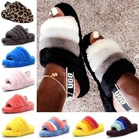 UGG women's fashion color matching fur flat sandals slippers shoes