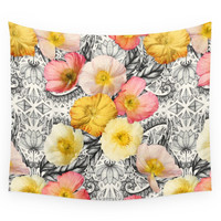 Society6 Collage Of Poppies And Pattern Wall Tapestry