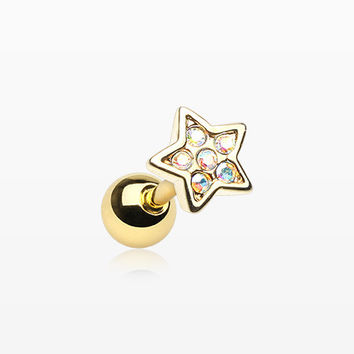 Golden Dainty Sparkle Star Cartilage Tragus Earring