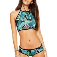 Flower hanging neck strap with triangular bikini with chest pad swimsuit