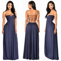 Bandeau Backless Evening Maxi Dress