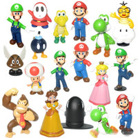 "18pcs/set Super Mario Bros 1.4""-2.5"" PVC Action Figures Yoshi Dinosaur Toys Model Collection Christmas Gifts"