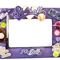 Softball Picture Frame - Collage Photo Frame - Purple Painted Room Decor Embellished Frame - (Wooden / MVP / Girl / Pink)