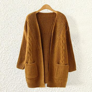Women Loose Comfortable Soft Cardigan Sweater with Pockets