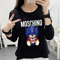 Moschino New fashion letter print couple long sleeve top sweater Black