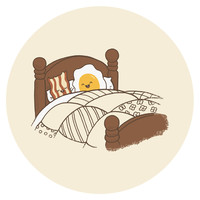 Terry Fan Breakfast in Bed Circle Print