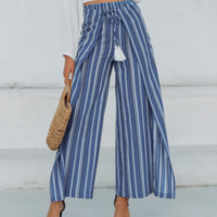 New fashion wide-leg pants holiday women's striped trousers high waist cotton and linen hot