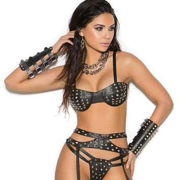 Leather Underwire Bra Set