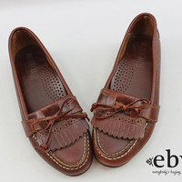 Vintage 90s Brown Leather Penny Loafers 6.5 Brown Leather Flats Vintage Penny Loafers Brown Penny Loafers Brown Oxfords Schoolgirl Shoes