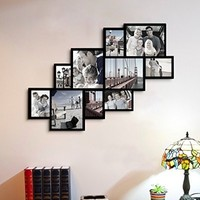 "Adeco Decorative Black Wood Wall Hanging Picture Photo Frame Collage, 10 Openings, Clustered, Various Sizes 4-8x10"", 5-5x7"", one-4x6"", Rectangular"