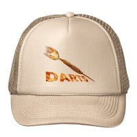 Darts With Golden Dart In Flames With Stylish Text Trucker Hat