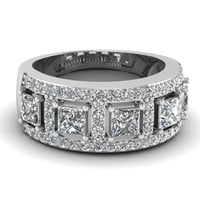 1.00ct Princess Diamond wedding Band-Ring 18K White Gold JEWELFORME BLUE