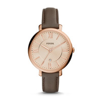 Jacqueline Three-Hand Date Leather Watch - Gray